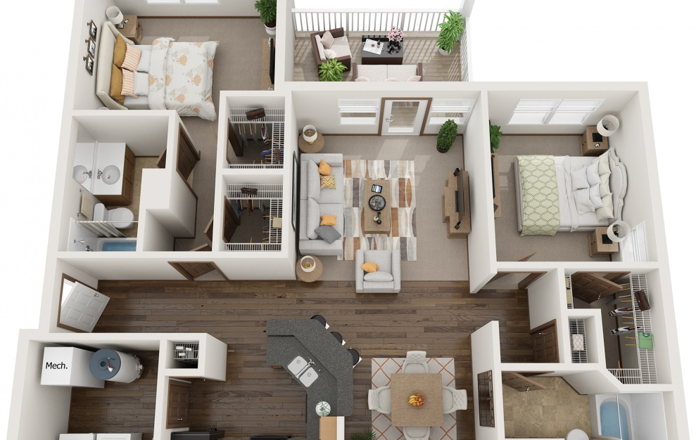 The Heritage - Furnished - 2 bedroom floorplan layout with 2 baths and 1200 square feet. (3D)