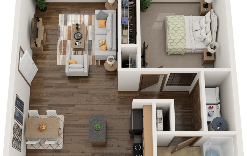 The Nest - Furnished - 1 bedroom floorplan layout with 1 bath and 747 square feet.