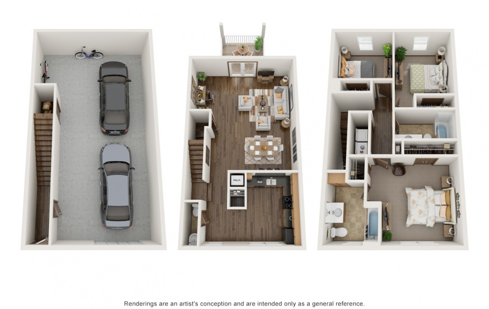 The Molly - Furnished - 3 bedroom floorplan layout with 2.5 baths and 1554 square feet. (3D)
