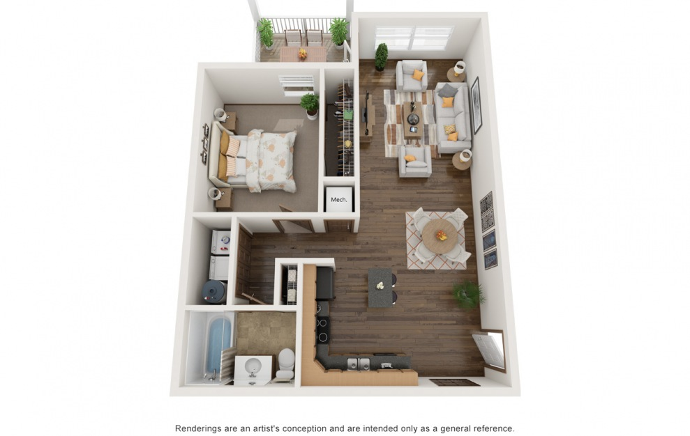 The Jaxson - Furnished - 1 bedroom floorplan layout with 1 bath and 845 square feet. (3D)