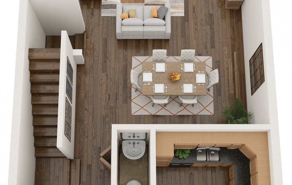 The Molly - 3 bedroom floorplan layout with 2.5 baths and 1554 square feet. (3D)